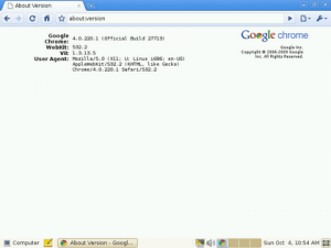Google Chrome OS Version Screen